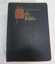 Holy Bible New Catholic Edition Illustrated Black Leather Gilt Edges C.1954