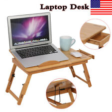 Portable Bamboo Laptop Computer Desk Table Stand Folding Bed Tray w/ Drawer USA