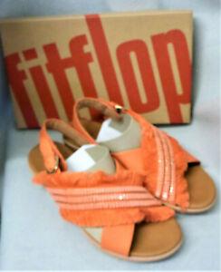 Fitflop Lexi Crystalstone Fringy Back Strap Coral Lava Orange Sandals Box Size 5