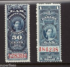 Canada Victorian Revenue 50c FG19 - $1 FG22 MNH Gas Inspection Stamps c1897