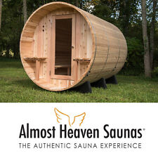 Brand New Weston Rustic Barrel Sauna from Almost Heaven Saunas