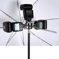 3 in 1 Tri-Hot Shoe Mount Adapter Swivel Flash Light Stand Mount Bracket for SLR