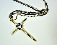 Elegante Doble Cadena Hermosa De Oro / Diamante Collar Cruz Nuevo (Cl1)