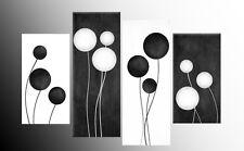"""Blanco Y Negro Grande Abstracto círculos Lona imágenes de arte de pared Split Multi 40 """""""