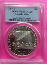 1987 - S US CONSTITUTION  GRADED PCGS PR69CAM SILVER $1 PROOF DOLLAR COIN