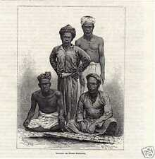 Antique print inhabitants Moeara Menkoelem Sumatra VOC