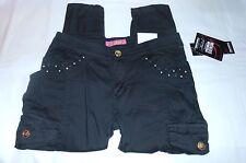 South Pole Girls Stretch Embellished Low Rise Skinny Cargo Pants Black Ten (10)