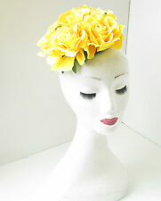 Large Yellow Rose Flower Fascinator Headpiece Races Floral Hat Rockabilly Vtg 6