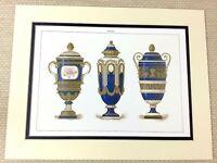 1988 Stampa Francese Cameo Urna Vasi Cobalto Blu Dorato Antico Raro Porcellana