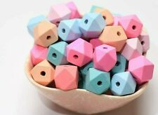 10 Geometric Wood Beads Assorted 15mm Mixed Lot Jewelry Making Supplies Set