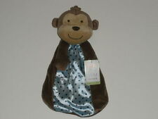 NWT Carters Just One You Brown Monkey Rattle Blue Satin Dot Security Blanket Toy