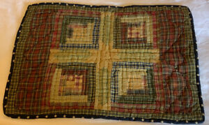 Patchwork Country Quilt Table Topper, Log Cabin, Plaids, Checks, Beige, Navy