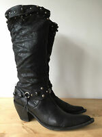 MADE IN ITALY LADIES BLACK SOFT LEATHER KNEE HIGH COWBOY STYLE BOOTS UK6