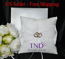 Satin Wedding Ring Bearer Pillow Accented W/Organza & Double Heart Embellishment