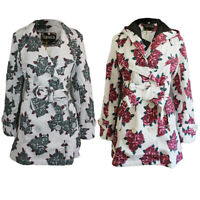 Women's Belted Hooded Button Up Ladies Rose Flower Winter Duffle Jacket Coat