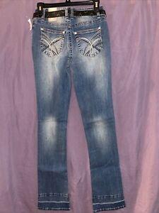 WallFlower Jeans 3 reg Sky High Curvy Fit slim boot distressed revesible belt