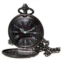 Vintage Steampunk Black Roman Numerals Necklace Quartz Pendant Pocket Watch M9L1