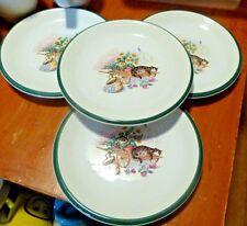 "Set of 4 Century Stoneware ""Cat Nap"" 8' Salad Bread Plates Green Trim Pottery"