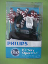 PHILIPS LED CANDY CANE CHRISTMAS LIGHTS BATTERY OPERATED INDOOR 10 LIGHTS NEW