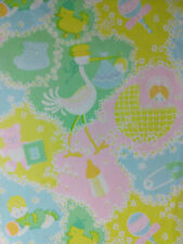 Lot of 9 Cute Pieces of Vintage Baby Gift Wrap / Wrapping Paper & Printed Tissue