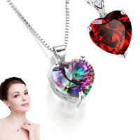 925 Silver Necklace Rainbow Fire Mystic Topaz Garnet Heart-shape Pendant Jewelry
