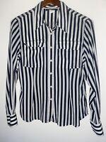 Jones New York Signature Black & White Striped Sheer Blouse Size 14 Preowned