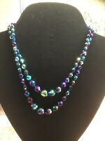 Vintage Aurora Borealis Purple / Green Crystal Glass Bead Necklace 39 Cm length