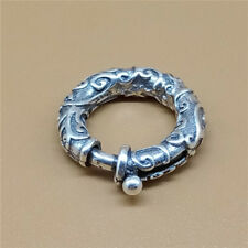 Sterling Silver Oxidized Swirl Spiral Spring Ring Clasp for Bracelet Necklace