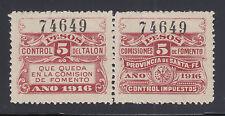 Argentina, Santa Fé, MNH. 1916 5p Comision de Fomento Talon & Control Pair
