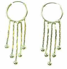 UNDERSTATED SILVER TONE GLAMOUR LADIES HOOP BALL DROP FASHION EARRINGS (ZX2)