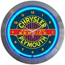 "Chrysler Plymouth Approved Service Blue Neon Hanging Wall Clock 15"" Diameter"