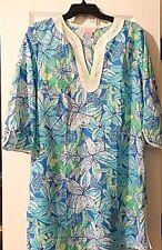 NWOT Lilly Pulitzer Blue/Lime/Wht Floral Print 3/4 Slv VNeck Ctn Tunic Dress S/M