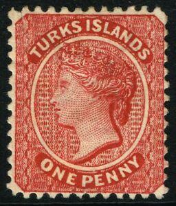 SG 58x TURKS & CAICOS ISLANDS 1887 - 1d CRIMSON-LAKE (wmk. reversed) - M/M