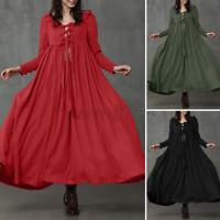 ZANZEA UK Women A-Line Flare Swing Long Maxi Dress Gown Tie Front Kimono Dresses