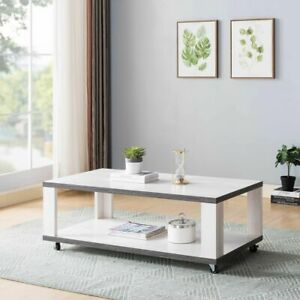 Modern Furniture Coffee Table Oval Two Toned with Bottom Shelf White Oak