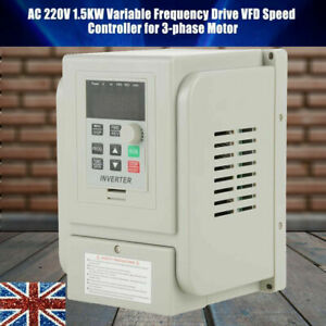 1.5KW Single To 3 Phase VFD Variable Frequency Drive Inverter Speed Converter UK