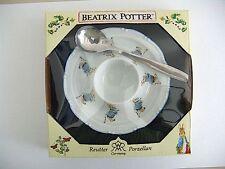 Reutter Porcelain Beatrix Potter Peter Rabbit eggplate & spoon set NEW  27083