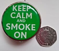 """KEEP CALM AND SMOKE ON"" pocket TRAVEL ASHTRAY  Stainless Steel Bargain GIFT NEW"