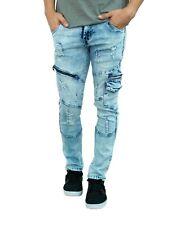 D-coy Mens biker Slim Skinny jeans premium Ripped Distressed denim (J17021)