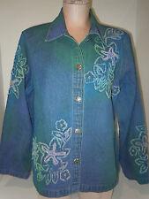 Keren Hart Womens Flower Embroidered Denim Jean Blouse Shirt Top Size M Medium