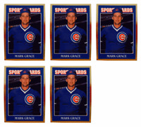 (5) 1992 Sports Cards #69 Mark Grace Baseball Card Lot Chicago Cubs