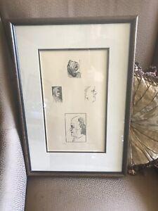 Leonard Baskin signed numbered woodcut  Blake 1956 Framed Youthful Ancients