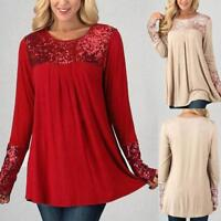 Women Sequins Tops Autumn Spring Long Sleeve Casual Loose Pullover Shirt Blouse