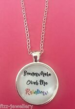 Somewhere Over The Rainbow Wizard Oz Silver Pendant Glass Necklace New Gift Bag