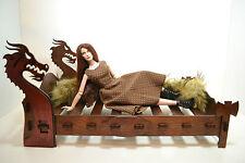 Bed Viking rare brutal for dolls 16-18 inch Tonner BJD Furniture 1:4 wooden OOAK
