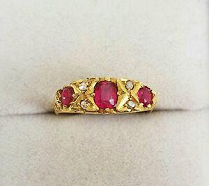 18ct Gold Antique Edwardian 1912 Ruby Paste & Mine Cut Diamond Ring Size P