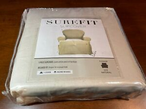 sure fit Cotton Duck One Piece T-Chair Slipcover NATURAL NEW relaxed fit free sh