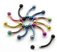 6er Set Augenbrauen Piercing Titan beschichtet