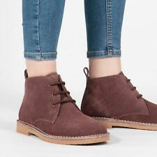 Roamers Ladies Womens 3 Eyelet Casual Suede Leather Desert Boots Deep Plum