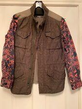 Maison Scotch Cotton Jacket Coat Size 2 10 Khaki Aztec Orange  Wine Sleeve